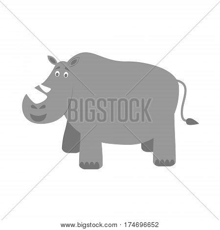 Cute rhino in cartoon style vector illustration