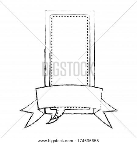 monochrome blurred contour of large rectangle dialog box design with ribbon vector illustration