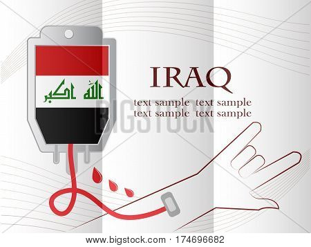 blood donation design made from the flag of Iraq. conceptual vector illustration.