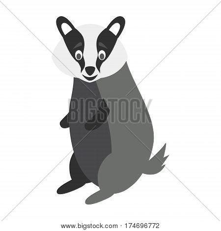 Cute badger in cartoon style vector illustration