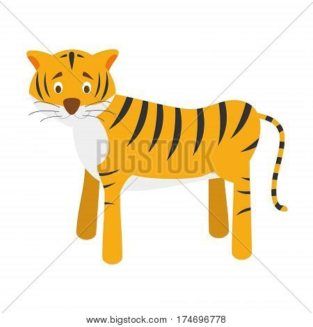 Cute tiger in cartoon style vector illustration