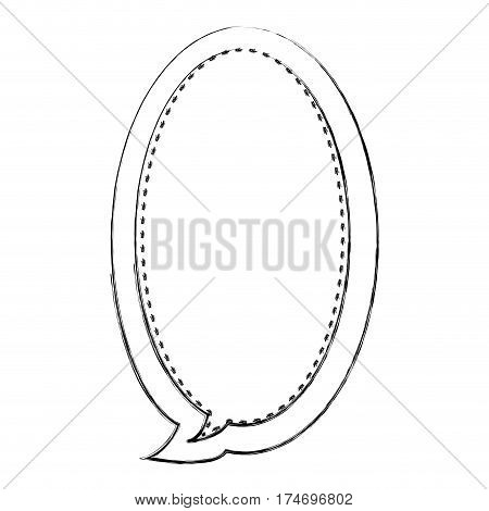 monochrome blurred contour of large oval frame callout dialogue vector illustration