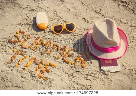 Inscription Summer Time, Accessories For Sunbathing And Passport With Currencies Dollar On Sand At B