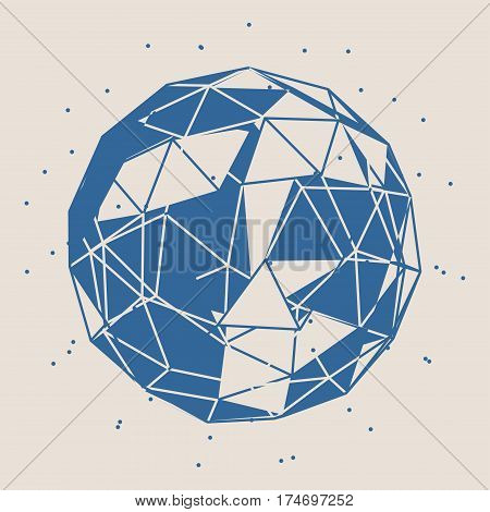 Wireframe Polygonal Element. 3D Sphere with Lines