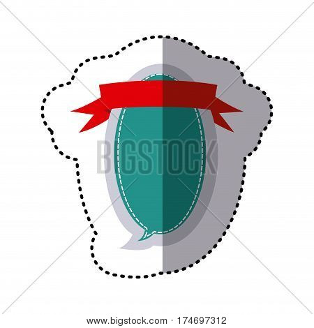 color sticker oval balloon dialog box design with ribbon vector illustration