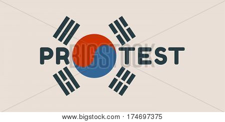 Protest word. Vector illustration relative to Korean politic crisis. National flag elements. Billboard concept