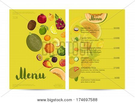Vegetarian restaurant food menu design vector illustration. Vegan cafe menu, price catalog vegetarian nutrition, organic food shop, healthy diet retail. Yellow menu card template with fruit elements