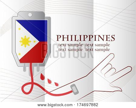 blood donation design made from the flag of Philippines conceptual vector illustration.
