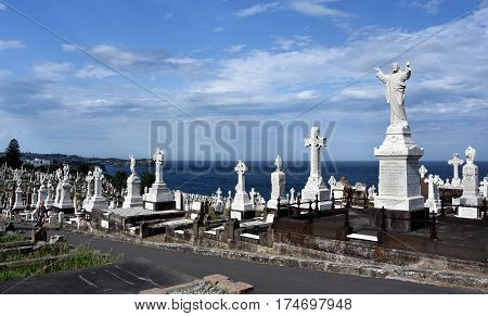 Sydney Australia - Feb 5 2017. Waverley Cemetery is a state heritage listed cemetery in an iconic location in Sydney. It is noted for its largely intact Victorian and Edwardian monuments.