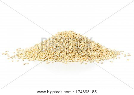 Heap of raw uncooked quinoa seed on white background