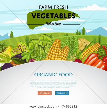 Farm fresh vegetable banner with rural landscape vector illustration. Natural growing, agriculture farming, organic food, vegan product poster. Tomato, onion, cabbage, pepper, corn, onion, potato