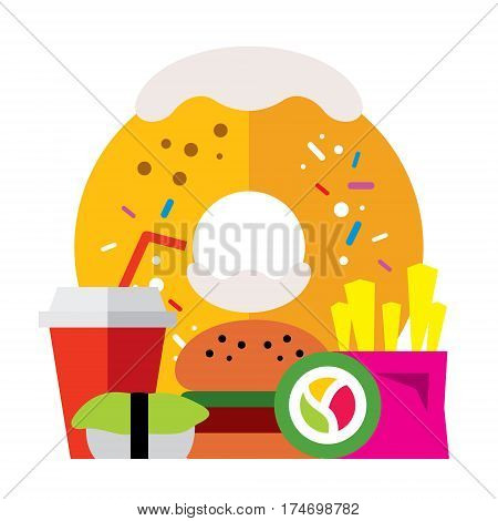 Donut, hamburger, drink, sushi, rolls, french fries. Isolated on a white background