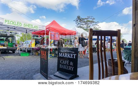 Kerikeri, New Zealand - February 8, 2017 Old Packhouse Market stalls Kerikeri New Zealand.