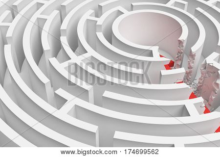 3d rendering of a round maze with a red arrow borrowing to the center in closeup view. Mazes and labyrinths. Problems and solutions. Unexpected approach and risk.