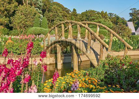 Arch bridge in the colorful flower garden.