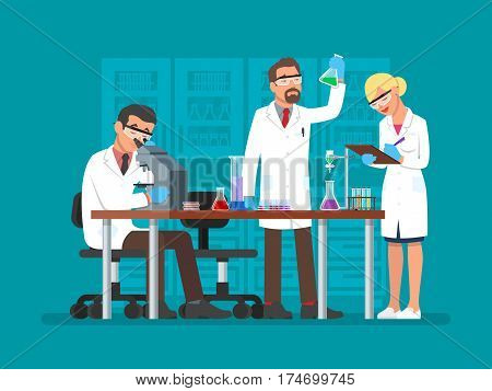 Vector illustration of scientists two men and woman working at science lab. Laboratory interior, equipment and lab glassware. Scientific research concept flat style design element.