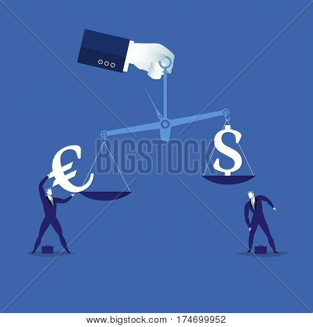Vector illustration of human hand holding scales with euro and dollar signs and businessmen. Currency balance concept design element.