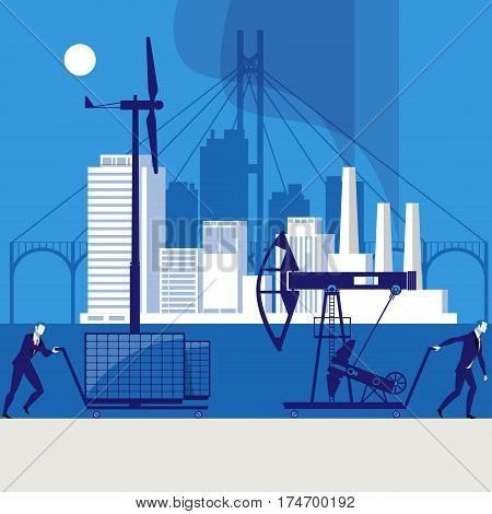 Vector illustration of one businessman pushing cart with windmill and another businessman getting cart with oil pump away. Environmental safety concept design element.