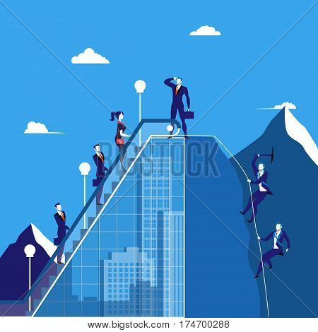 Vector illustration of groups of business people climbing up the mountain from both sides of it. Leader looking for future success on the top of rock. Teamwork, competition, leadership concept design.