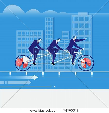 Vector illustration of businessmen riding tandem bike. Business teamwork concept flat style design element.
