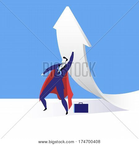 Vector illustration of businessman in red cloak looking like superhero and rising up arrow changing the direction. Business success concept design element in flat style