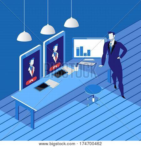 Vector illustration of businessman holding videoconference. Business videoconferencing concept flat style design.