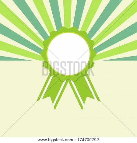 Award ribbon on retro starburst background vector illustration