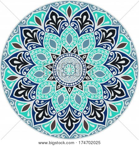 Drawing of a floral mandala in turquoise blue and gray colors on a white background. Hand drawn tribal vector stock illustration