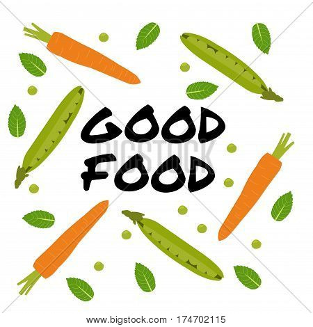 Vector. Green pea pod and carrots. Hand lettering