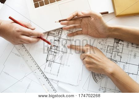 Engineer Meeting For Architectural Project Working With Partner