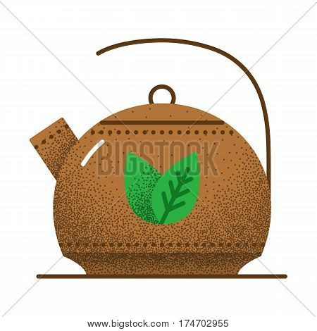 Tea icon retro texture. Brown kettle for green tea with two green leaves. Vintage vector illustration. Herbal tea icon on white background.