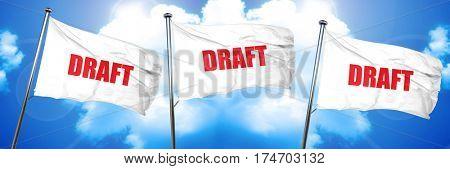 draft, 3D rendering, triple flags