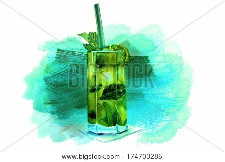 A watercolour drawing of a mojito cocktail with mint leaves, a wedge of lime, and a drinking straw, on a painted teal texture, with copy space