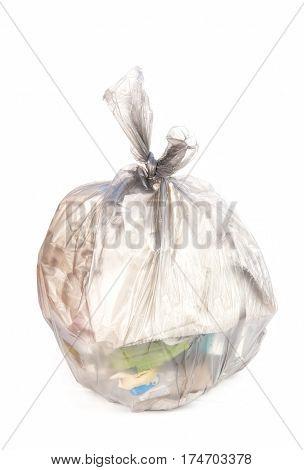 black bag of rubbish on white background