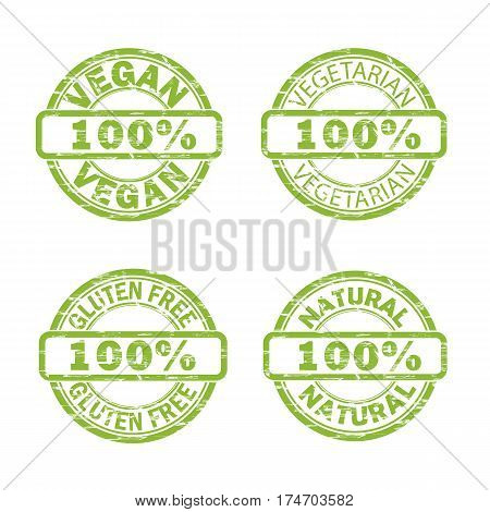 NATURAL, VEGAN, GLUTEN FREE, VEGETARIAN stamps vector grunge design with scratches. Color is easily changed.