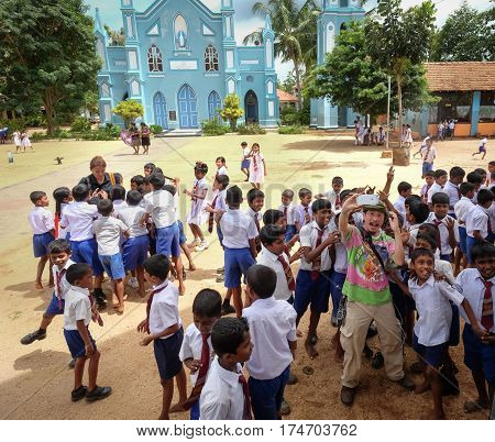Students Playing At School Yard In Sri Lanka