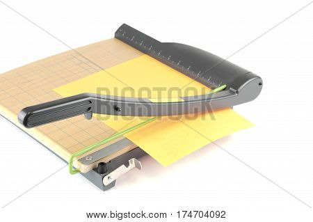 close up on guillotine paper cut knife isolated on white background