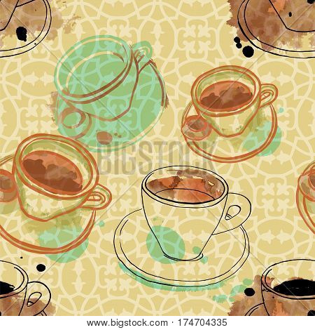 A seamless pattern of freehand vector and watercolour drawings of coffee cups on a sepia background with an abstract ornament