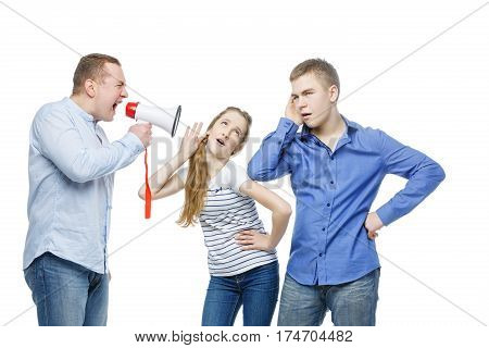 Father screaming through megaphone at teen age boy and girl. Isolated on white background. Copy space.