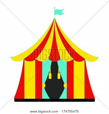 Circus tent flat icon. Vintage Vector illustration.