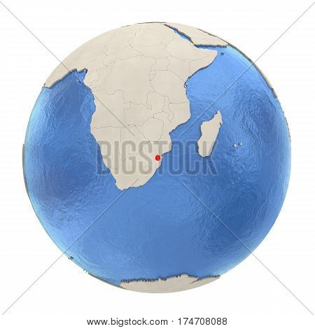 Swaziland In Red On Full Globe Isolated On White