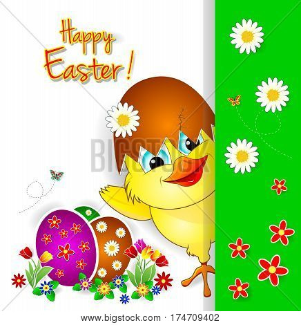 Little chicken on a background of easter of eggs and flowers. Greeting card Happy Easter.
