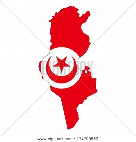 Map and flag of Tunis on a white background
