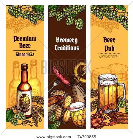 Beer with snacks sketch banner set. Beer bottle, glass, mug and barrel with grilled sausage, salty pretzel, fish and crayfish, decorated with branches of hops and malted barley. Pub, brewery design