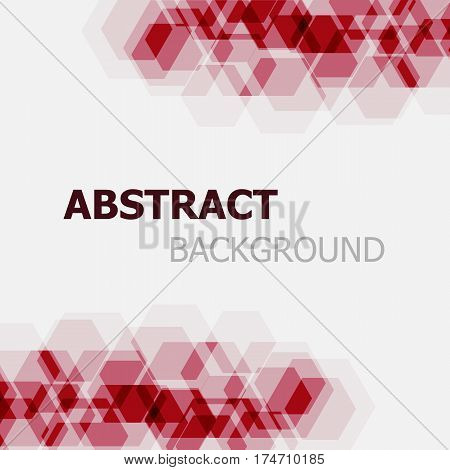 Abstract maroon hexagon overlapping background, stock vector