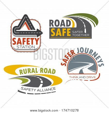 Road and drive safety sign icon. Asphalt highway, winding road, rural path and freeway interchange symbols for transportation service, road travel, traffic safety themes design