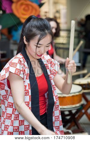 Moscow, Russia - March 5, 2017: Group Of Japanese Taiko Drummers Girls Perform In