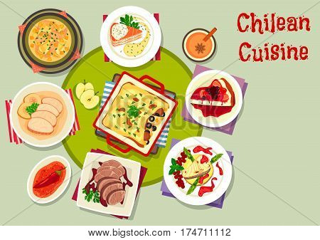 Chilean cuisine icon with chili sauce, grilled fish with fruit sauce, salmon onion soup, pork apple stew, beef steak with wine sauce, salmon cheese pie, cheesecake with berry, corn chicken casserole