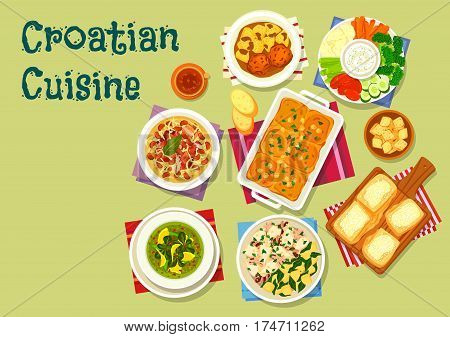 Croatian cuisine lunch icon of squid with potato, meatball in tomato sauce, bean cabbage stew with meat, spinach cream soup, sour cream sauce with vegetables, cheese strudel, cake with custard cream