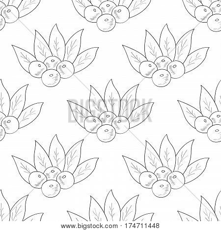 Acai berry branch leaves superfood hand drawn sketch illustration. Seamless pattern.
